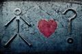 Картинка стена, сердце, вопрос, шуруп