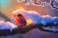Картинка зима, снег, дерево, птица, ветка, арт, снегирь