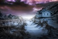 Картинка небо, снег, дом