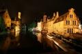 Картинка небо, ночь, огни, лодка, дома, канал, Бельгия