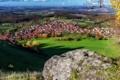 Картинка осень, небо, трава, дома, Германия, долина, Кольберг