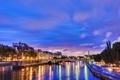 Картинка город, огни, река, париж, вечер