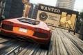 Картинка город, гонка, суперкар, трюк, need for speed most wanted 2, рекламный щит, lamborghini aventador lp-700-4