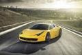 Картинка Italia, car, 458, Ferrari, tuning, yellow, Vorsteiner