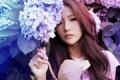 Картинка лето, глаза, взгляд, девушка, цветы, лицо, волосы