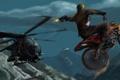 Картинка горы, прыжок, вертолет, Мотоцикл, выстрелы