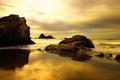 Картинка закат, камни, настроение, берег, волна, тишина, вечер