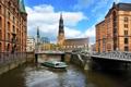 Картинка небо, облака, мост, city, город, река, здания