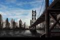 Картинка небо, вода, мост, city, город, река, фантастика