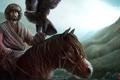 Картинка конь, холмы, птица, арт, всадник, сокол, монгол