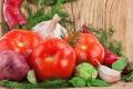 Картинка лук, укроп, перец, овощи, помидор, капуста, чеснок