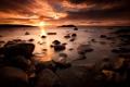 Картинка закат, камни, пейзаж, солнце, вода, вечер, природа