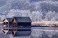 Картинка зима, озеро, берег, Германия, домик