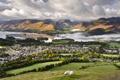 Картинка трава, облака, река, холмы, овцы, дома, городок