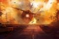 Картинка дорога, человек, корабль, крушение, вертолеты, арт, танк