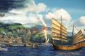 Картинка море, город, корабль, герой, паруса, фанарт, fanart