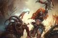 Картинка девушка, кровь, арт, монстры, посох, рыжая, битва