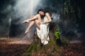 Картинка азиатка, лес, природа, девушка, платье, брюнетка