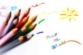 Картинка надпись, карандаши, рисуйте мир