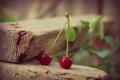 Картинка вишня, ягоды, листок