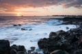 Картинка закат, пена, облака, корабли, волны, камни, море