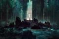 Картинка арт, река, зелень, меч в камне