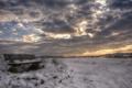 Картинка поле, снег, скамья