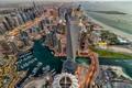 Картинка гавань, с высоты птичьего полета, dubai marina, башня, dubai, море, залив