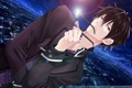 Картинка небо, очки, ночь, красные глаза, пиджак, Psychic Detective Yakumo, аниме