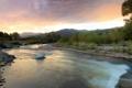 Картинка река, холмы, вечер