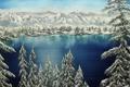 Картинка зима, снег, деревья, горы, природа, живопись