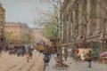 Картинка город, люди, улица, картина, трамваи, Eugene Galien-Laloue, Flower Market La Madeleine