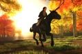 Картинка осень, листья, девушка, деревья, животное, лошадь, Lara Croft