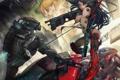 Картинка девушка, металл, оружие, робот, меч, арт, битва