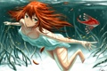 Картинка девушка, рыбки, корни, аниме, арт, под водой, gia