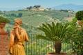 Картинка статуя, Italy, пальма, Италия, поля, вазы
