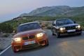 Картинка Дорога, BMW, Свет, Оранжевый, Чёрный, Фары, 1 Series