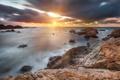 Картинка море, закат, камни, скалы