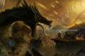 Картинка транспорт, дракон, человек, планета, скафандр, арт, гигантский