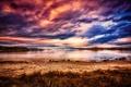 Картинка пляж, закат, тучи, озеро