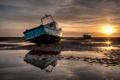 Картинка пейзаж, закат, лодки, мель
