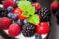Картинка черника, клубника, малинка, blueberries, strawberries, mint leaves, Malinka