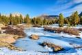 Картинка камни, небо, ручей, речка, деревья, зима, лед