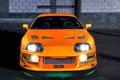 Картинка тюнинг, оранжевая, неон, подсветка, спойлер, Toyota, Supra