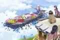 Картинка крыша, небо, облака, бабочки, цветы, люди, лодка