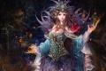 Картинка девушка, украшения, бабочки, фэнтези, арт, бусы, головной убор