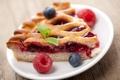 Картинка ягоды, малина, черника, пирог, мята, выпечка, начинка