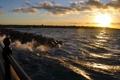 Картинка закат, камни, солнце, волны, море, берег, рассвет