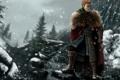 Картинка снег, горы, воин, dragon age, origins, alistair
