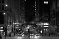 Картинка машины, ночь, улица, небоскребы, Чикаго, фонари, USA